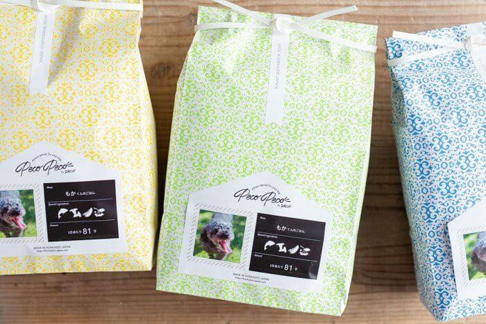 PECOPECO(ペコペコ)ドッグフードの愛犬の写真と名前給餌量入りパッケージ