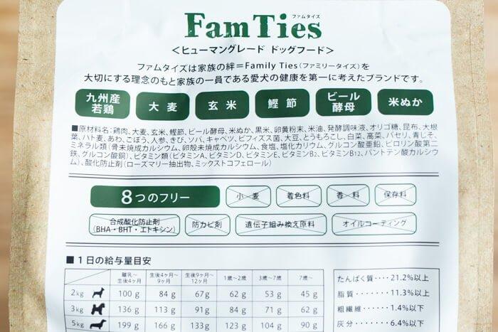 ファムタイズ(FamTies)ドッグフードの原材料